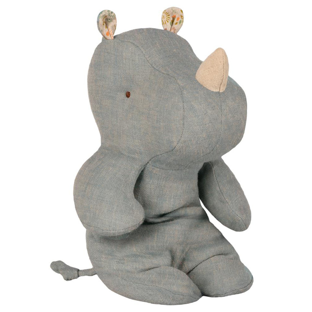Maileg Small Dove Blue Rhino Safari Friend Kid's Stuffed Animal Toy grey