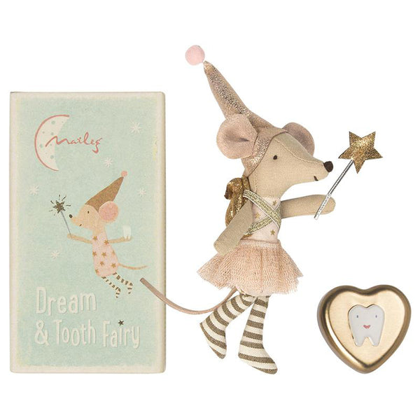 Maileg Pretend Play Dream & Tooth Fairy Mice with Matchbox & Toothbox big sister pink