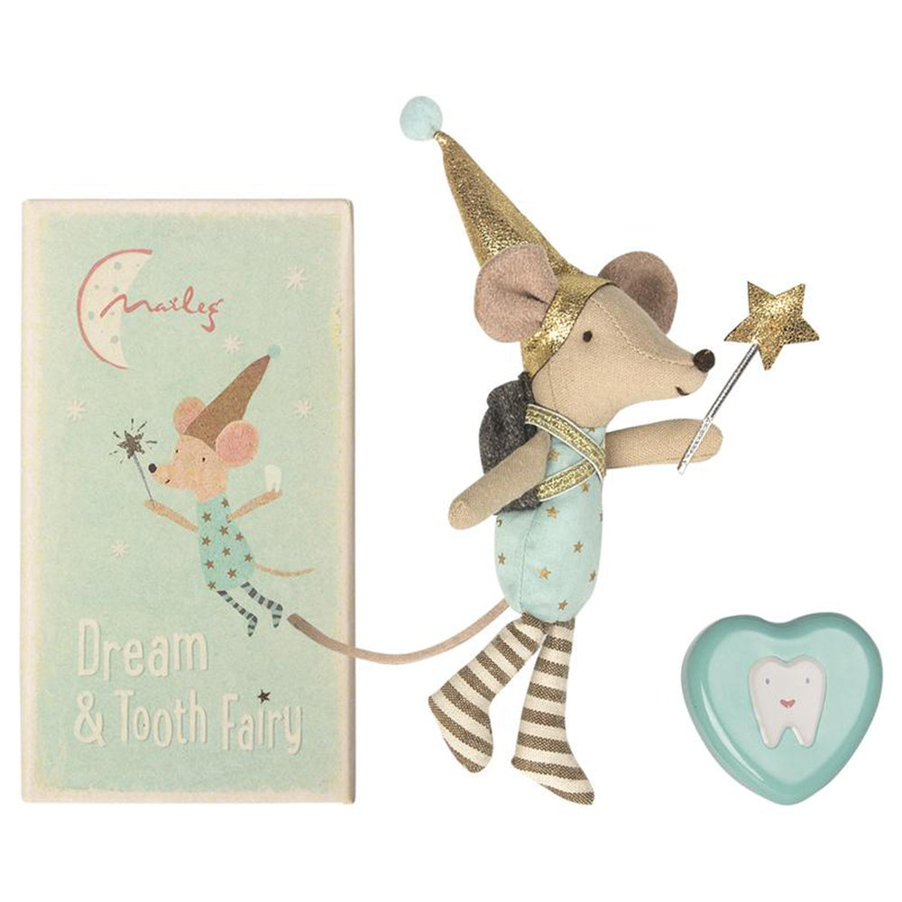 Maileg Pretend Play Dream & Tooth Fairy Mice with Matchbox & Toothbox big brother blue