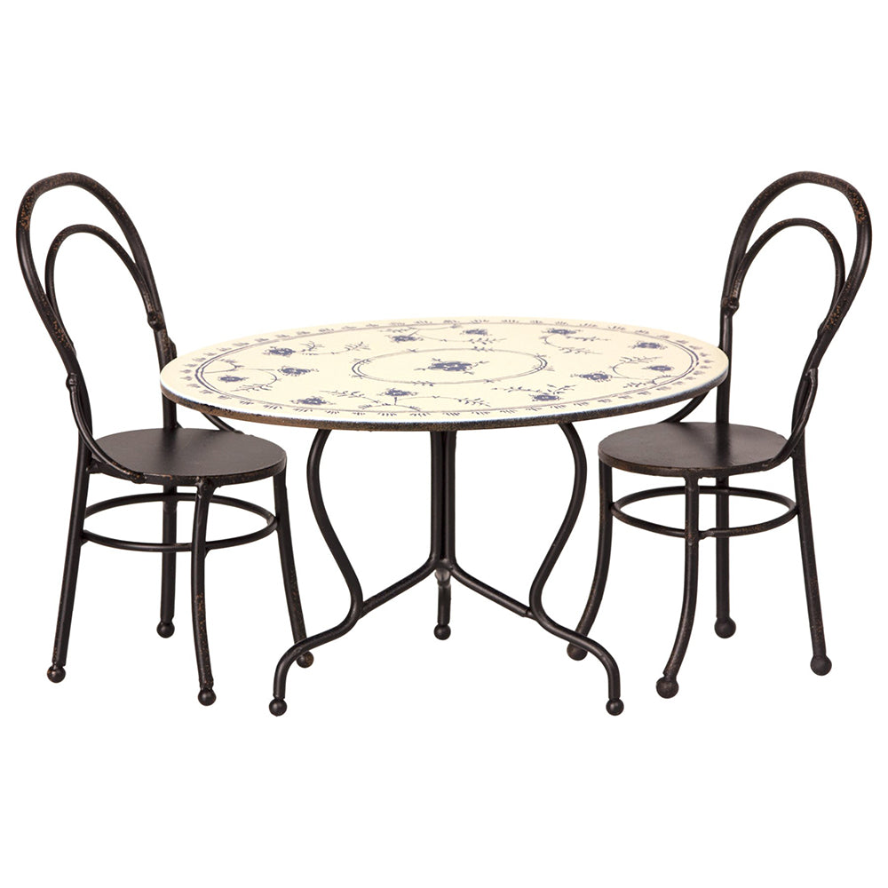 Maileg Pretend Play Vintage Mini Dining Table Set brown white