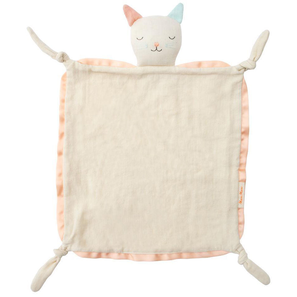 Meri Meri Natual Organic Cotton Muslin Baby Blanklette & Soother cat pink security