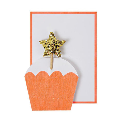 Meri Meri Blank Greeting Card - Cupcake with Star orange gold