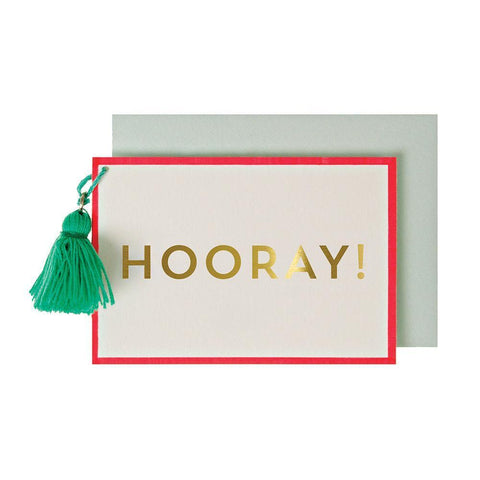Meri Meri Blank Greeting Card - Embelished Hooray! red green