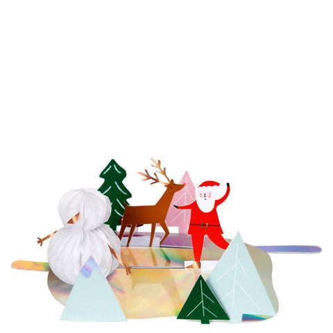 Meri Meri Christmas Holiday Interactive Greeting Card - Ice Skating santa reindeer snowman