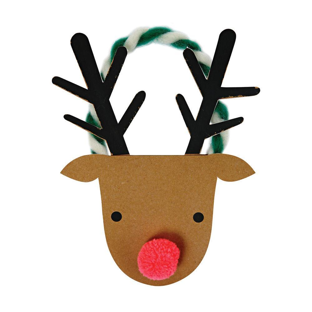 Meri Meri Christmas Holiday Greeting Card - Reindeer Head rudolph red nose