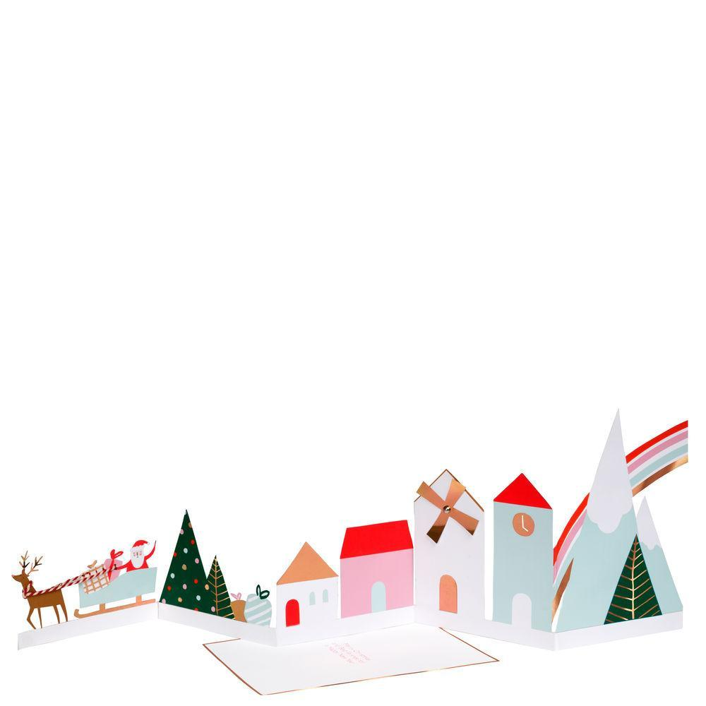Meri Meri Christmas Holiday Greeting Card - Festive Village Concertina houses santa reindeer red twine gold foil