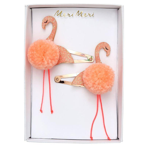 Meri Meri Children's Hair Clip Accessory pom pom flamingos glitter pink