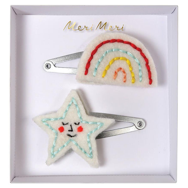 Meri Meri Children's Hair Clip Accessory embroidered rainbow star felt