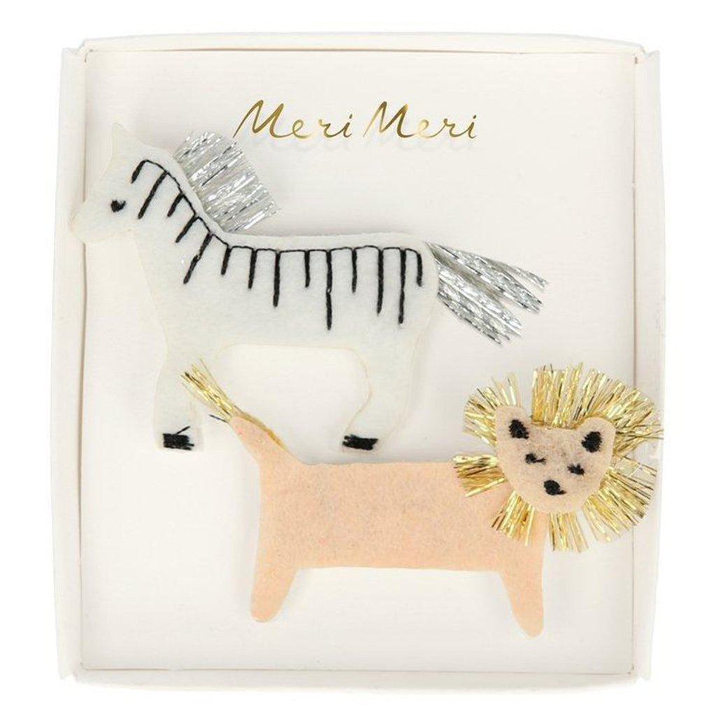 Meri Meri Zebra & Lion Felt Children's Hair Clip Accessory