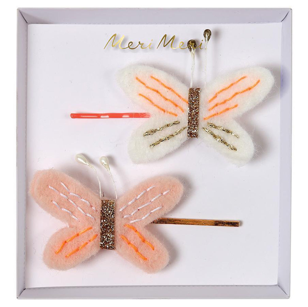 Meri Meri Children's Hair Slide Pin Accessory peach butterflies pink 2 pack