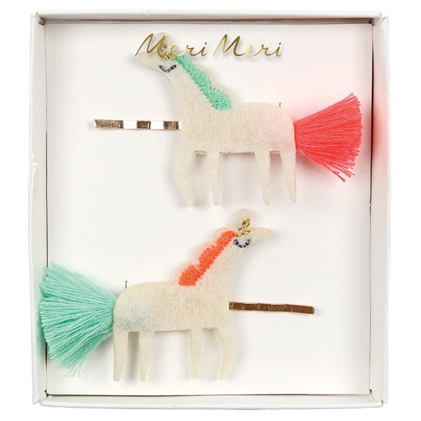 Meri Meri Children's Hair Slide Pin Accessory unicorn tails felt white