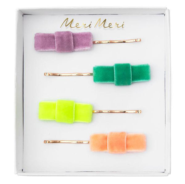 Meri Meri Children's Hair Slide Pin Accessory velvet bows multicolored solid 4 pack