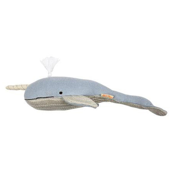 Meri Meri Organic Cotton Knitted & Stitched Children's Animal Toys milo the narwhal small blue horn