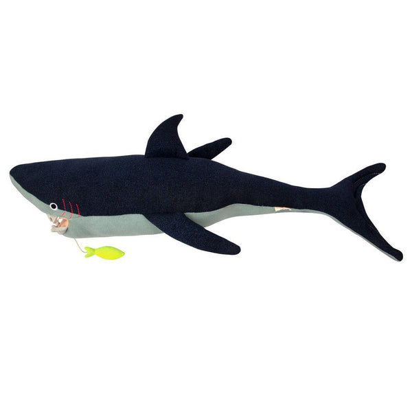 Meri Meri Organic Cotton Knitted & Stitched Children's Animal Toys vinnie the shark blue fish