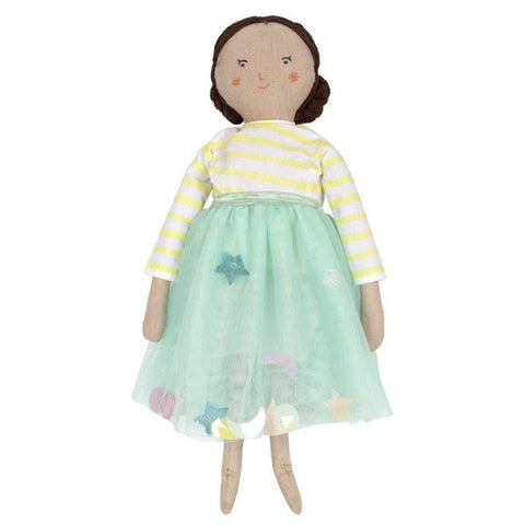 Meri Meri Fabric Doll Children's Classic Toy lila green dress yellow striped shirt brown hair