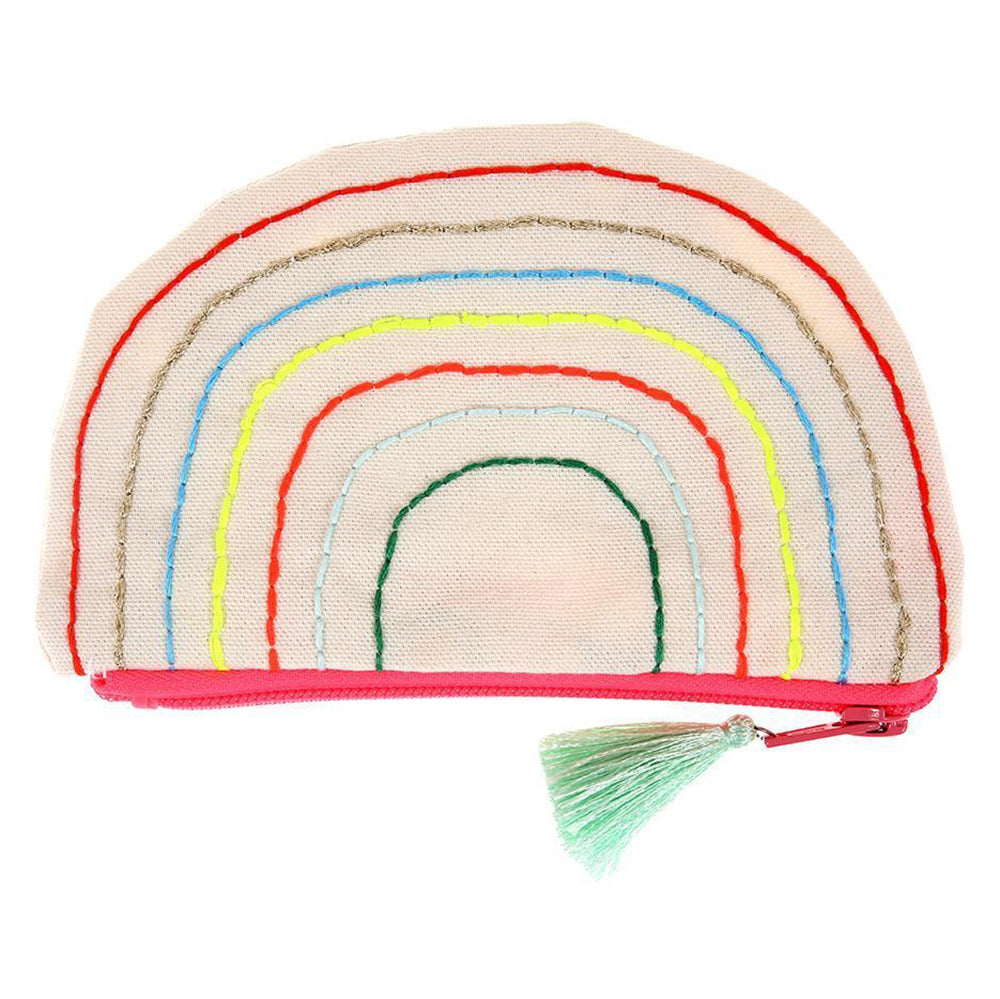Meri Meri Natural Cotton Canvas Kid's Rainbow Pouch small multicolored