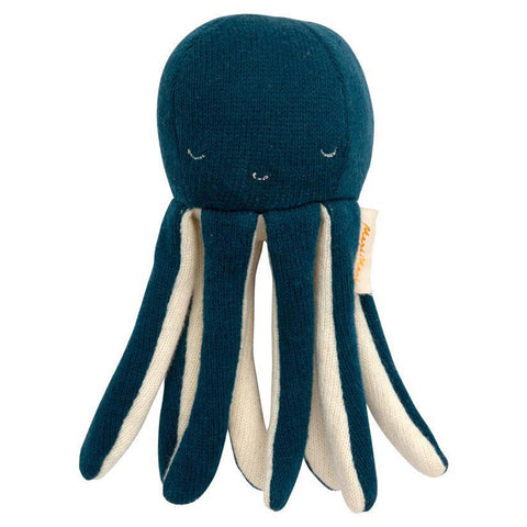 Meri Meri Knitted Organic Cotton Octopus Infant Baby Rattle Toy dark blue silver stitched details