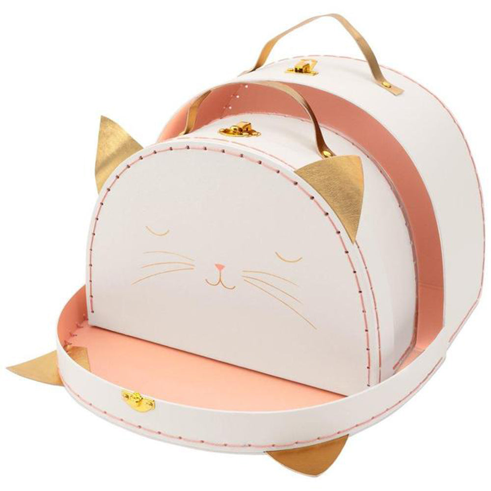 Meri Meri Children's Pretend Play Cardboard Suitcase Luggage Set cat white pink metallic cold 2 pack