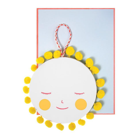 Meri Meri Greeting Card for New Baby - Sun with PomPoms bright yellow smiling face