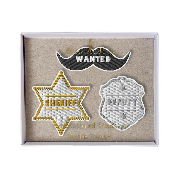 Meri Meri Natural Cotton Canvas & Felt Embroidered Brooch Set sheriff badge mustache