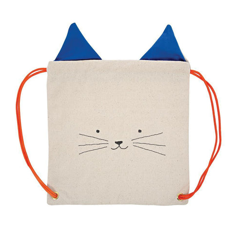 Meri Meri Cotton Canvas Children's Drawstring Backpack Bag blue cat