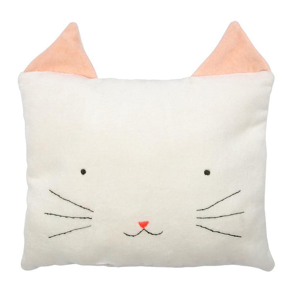 lifestyle_2, Meri Meri Cotton Velvet Animal Nursery Cushions white pink cat