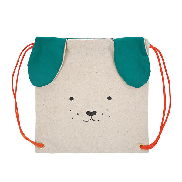 Meri Meri Cotton Canvas Children's Drawstring Backpack Bag  green dog