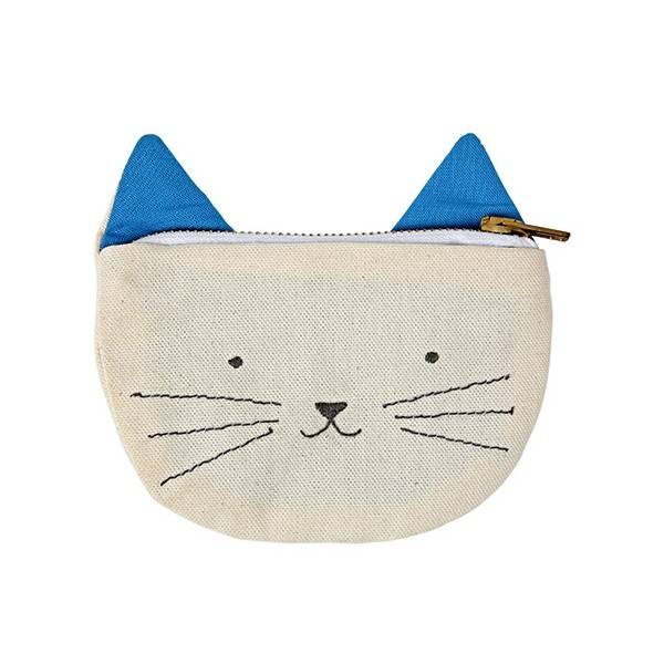 Meri Meri Natural Cotton Canvas Kid's Cat Canvas Pouch blue ears