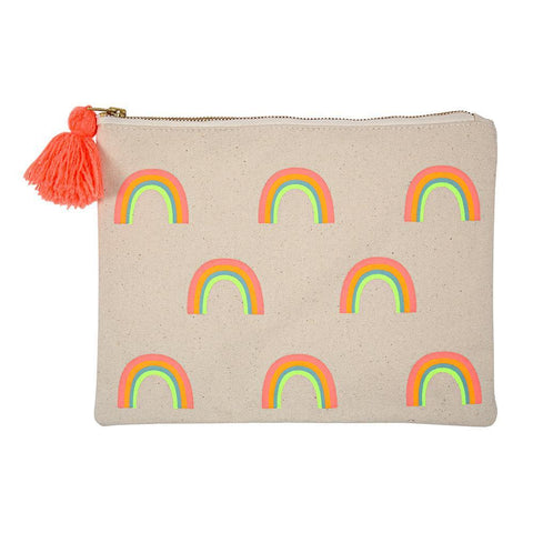 Meri Meri Natural Cotton Canvas Kid's Large Rainbow Pouch neon with orange tassel zipper