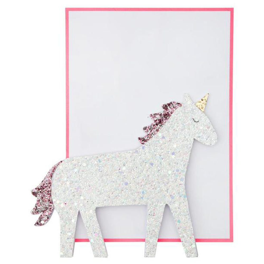 Meri Meri Birthday Greeting Card - Stand-Up Glitter Unicorn white pink sparkly