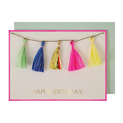 Meri Meri Birthday Greeting Card - Colorful Tassels multicolored