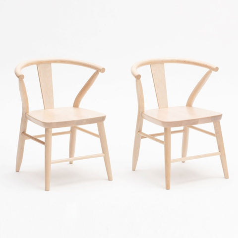 Milton & Goose Natural Crescent Chair Pair Children's Play Room Decor