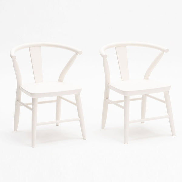 Milton & Goose White Crescent Chair Pair Children's Play Room Decor