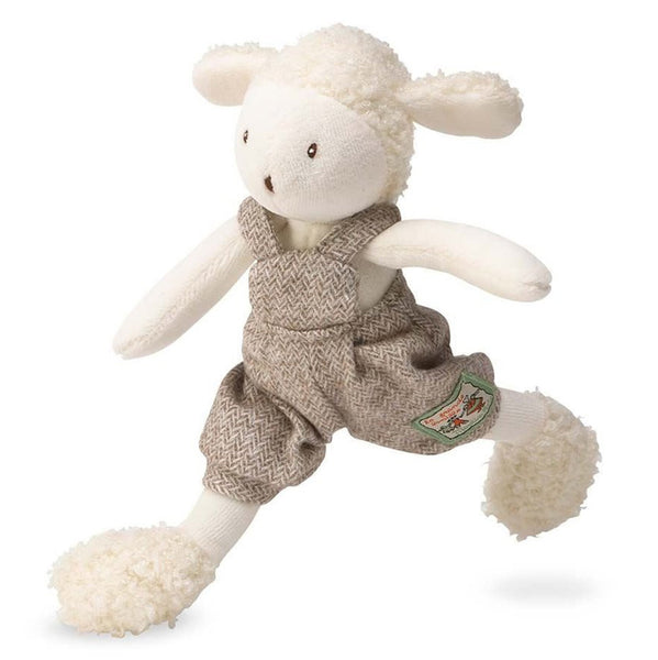 Moulin Roty La Grande Famille - Tiny Stuffed Animals sheep lamb albert white tweed coveralls