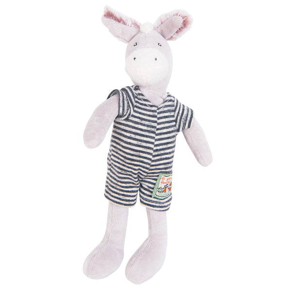 Moulin Roty La Grande Famille - Tiny Stuffed Animals donkey barnabe black white striped jumpsuit