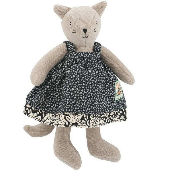 Moulin Roty La Grande Famille - Tiny Stuffed Animals cat agathe grey black floral dress