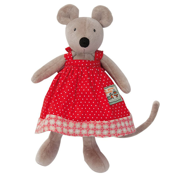 Moulin Roty La Grande Famille - Tiny Stuffed Animals mouse nini grey red dress