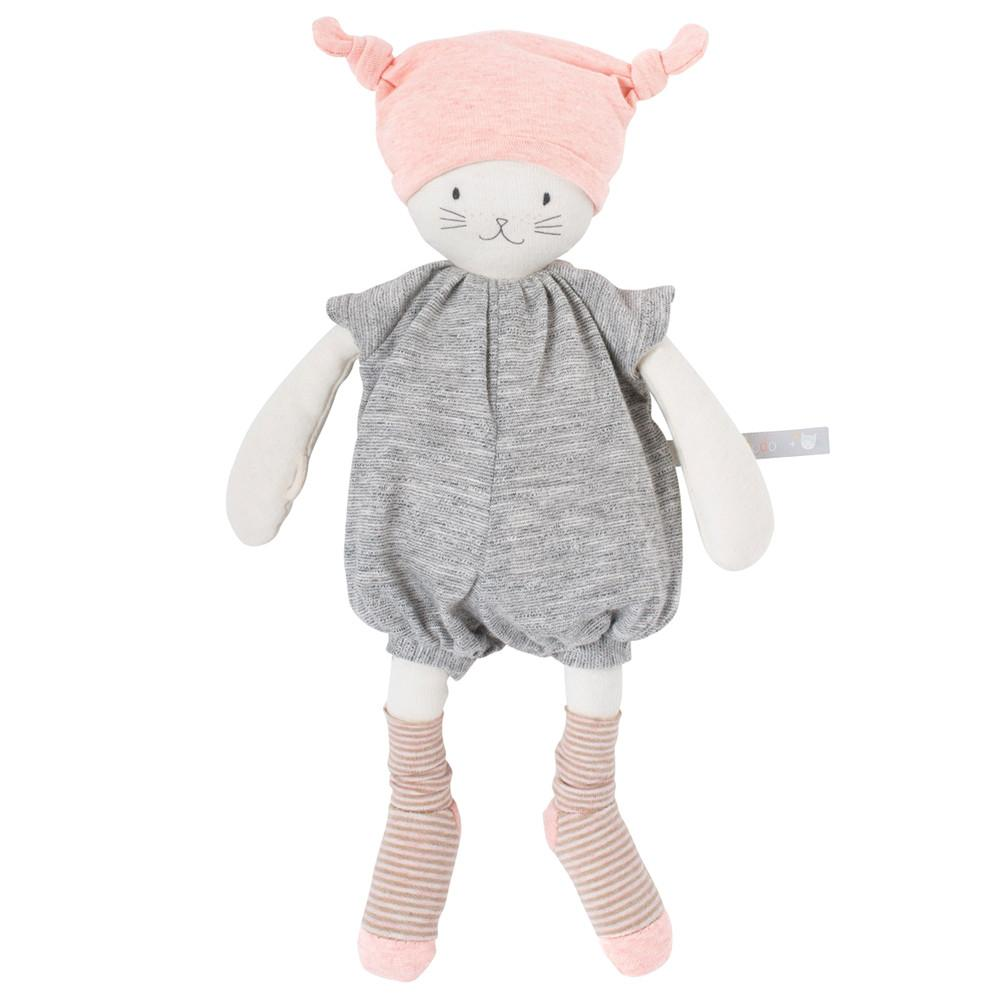 Moulin Roty Les Petits Dodos Moon the Cat Stuffed Animal Baby Doll pink heather grey