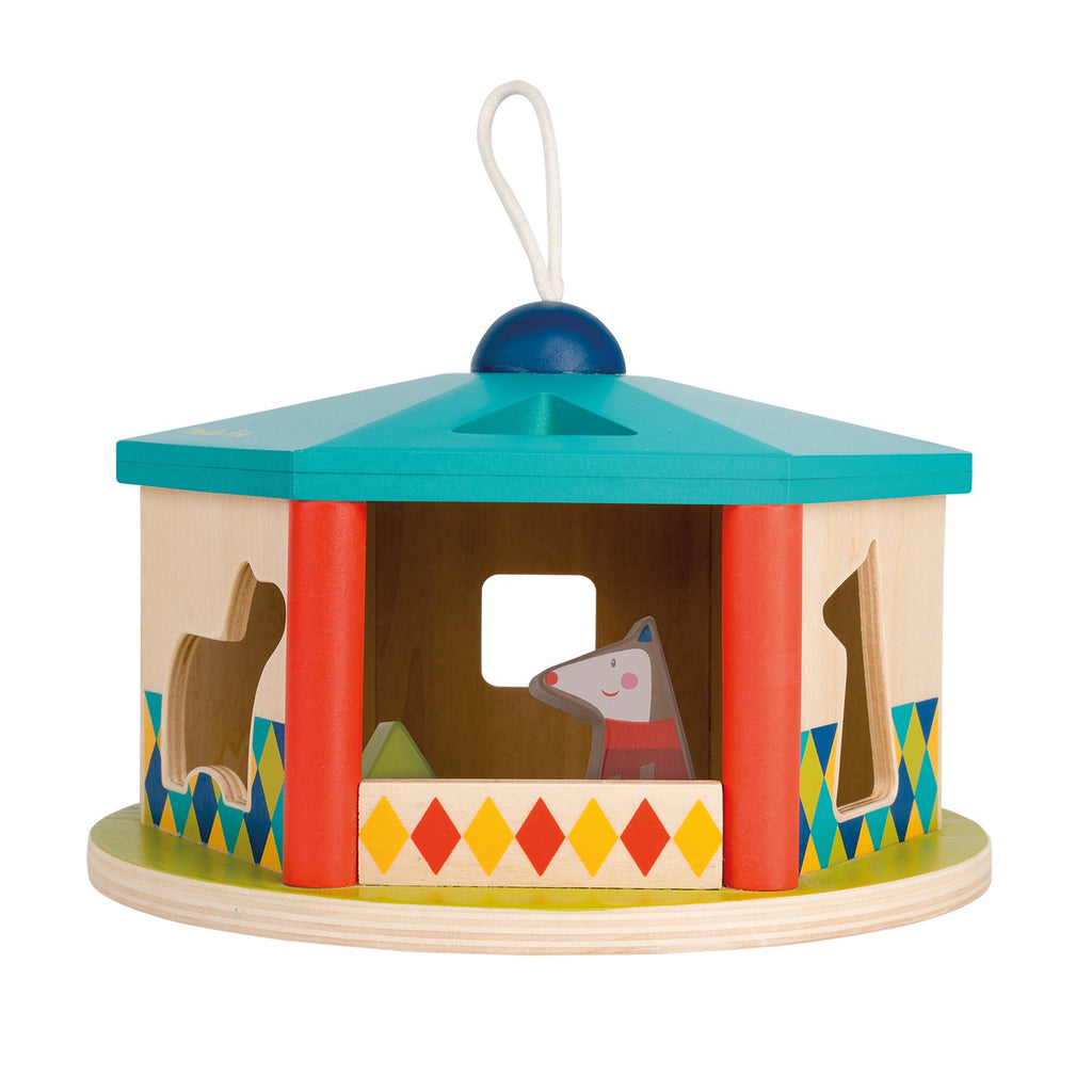 Moulin Roty Les Zig et Zag Children's Wooden House Shape Sorter Toy blue red animals blocks