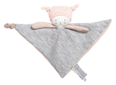 Moulin Roty Le Petits Dodos Moon the Cat Baby Lovey Blanket & Soother pink heather grey
