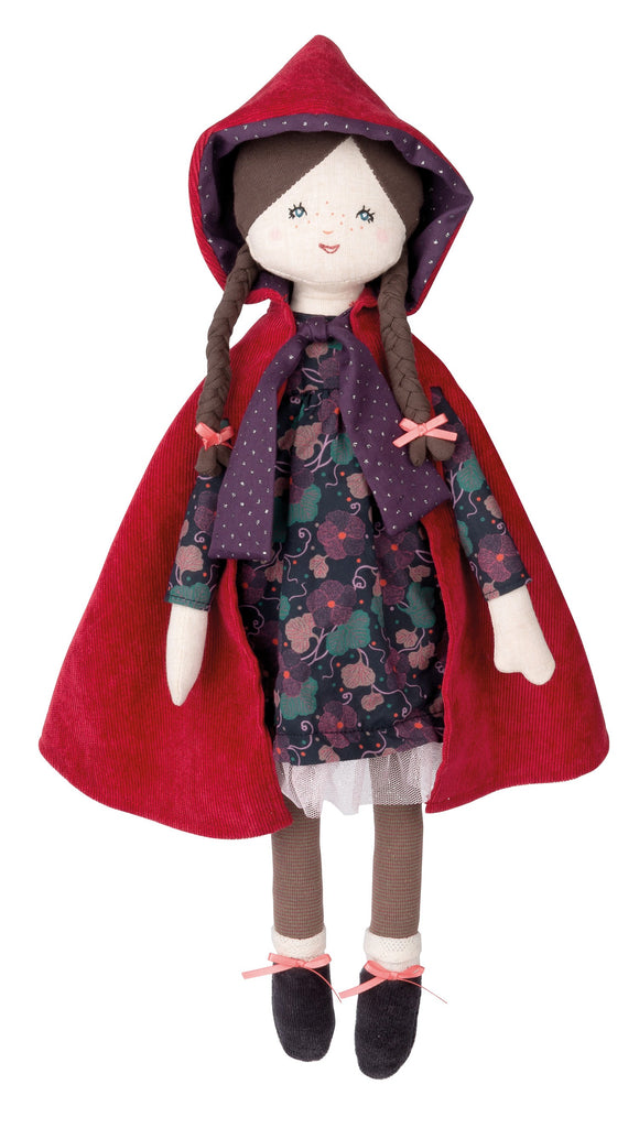 Moulin Roty Classic Fairy Tale Little Red Riding Hood Children's Doll velvet cape floral dress