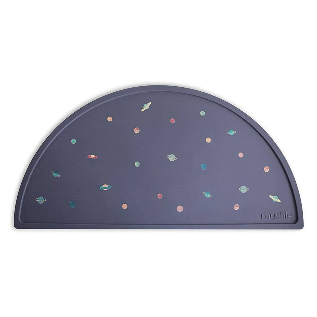Mushie Planets Silicone Placemat Children's Mealtime Mats navy blue mini worlds multicolored