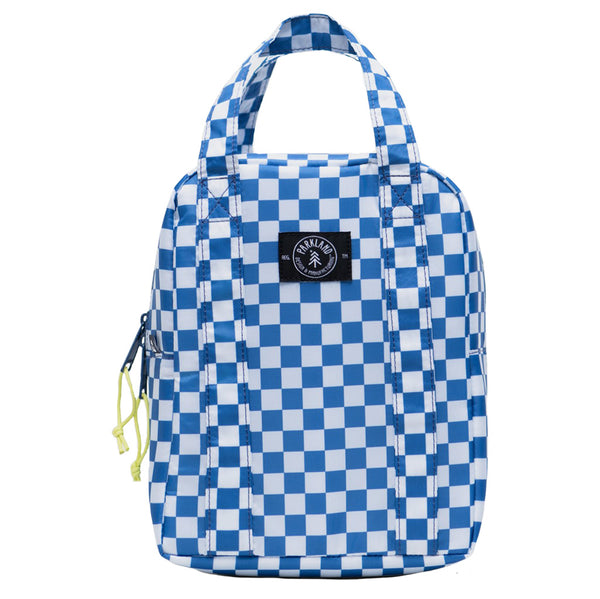 Parkland Remy Children's Lunch Bag checker horizon blue white neon yellow zipper strings