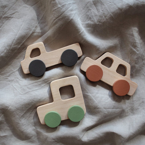 Pinch Toys Hand-Made & Painted Pretend Play Retro 80's Wooden Cars colors multi