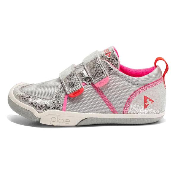 PLAE Ty Kids Sneaker Shoes velcro straps metallic silver pink grey glitter sparkle
