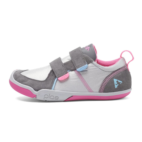 PLAE Ty Kids Sneaker Shoes velcro straps silver pink grey