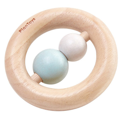 PlanToys Wooden Infant Baby Ring Rattle Activity Toy pastel blue pink