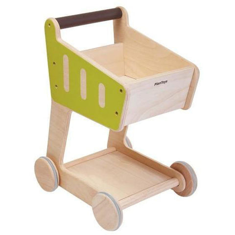 Plan Toys Children's Pretend Play Push Along Grocery Shopping Cart beige natural yellow green