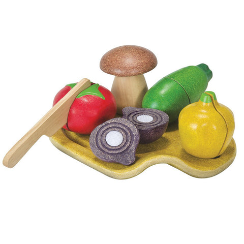 Plan Toys Assorted Wooden Pretend Play Food Vegetable Set multicolored