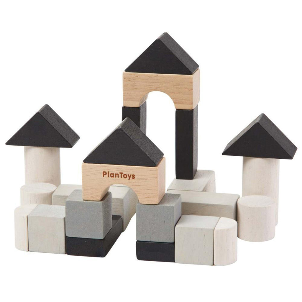 Plan Toys Children's Portable Mini Wooden Construction Block Set black white beige natural